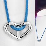 Collier en acero 25 - corazón Cordón azul