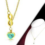 Collier en acero 37 - corazón turquesa y infinito gold-ip