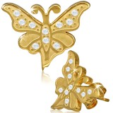 Stud de acero 25 - Gold ip mariposa