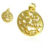 Stud de acero 98 - Gold ip círculo Flors