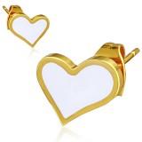 Stud de acero 100 - Gold ip corazón fondo blanco
