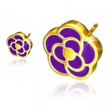 Stud de acero 143 - Gold ip Flor fondo púrpura
