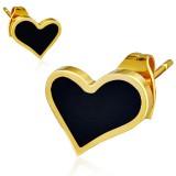 Stud de acero 153 - Gold ip corazón fondo negro