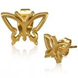 Stud de acero 164 - Gold ip mariposa
