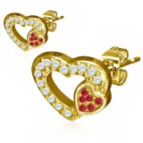 Stud de acero 173 - Gold ip corazóns strass