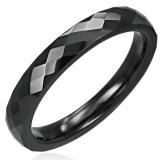 Anillo céramique 10 - Fine negro facetas