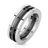 Anillo PVD 12 - tres anillos dont un negro