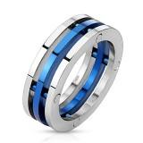 Anillo PVD 13 - tres anillos dont un azul