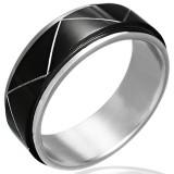 Anillo PVD 15 - Black-line línea zig-zag
