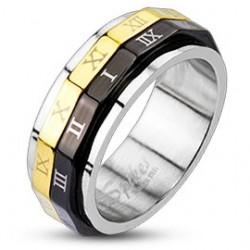 Anillo PVD 24 - Números romanos sobre negro y gold-ip