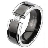 Anillo en titanio 14 - zircona ronda transparente
