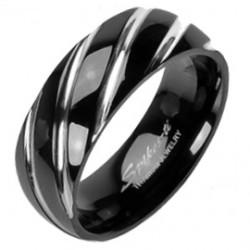 Anillo en titanio 16 - negro rayures gris