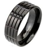 Anillo en titanio 20 - negro con rectángulos