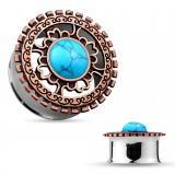 Túnel en acero centro turquesa colore bronce