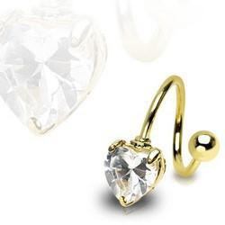 Piercing espirale 34 - zircona corazón chapado-oro
