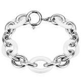 Pulsera céramique 16 - cadenas acero y blanco ovales