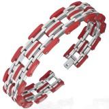 Pulsera de acero 29 - cinco líneas en goma rojo