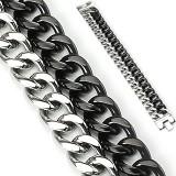 Pulsera acero cadena 07 - Doble negro y acero