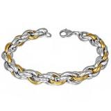 Pulsera acero cadena 37 - tressés acero y gold-ip