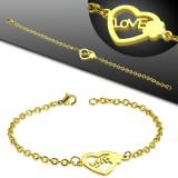 Pulsera acero cadena 34 - Gold-ip corazón love