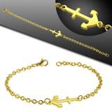Pulsera acero cadena 32 - Gold-ip con ancla