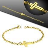 Pulsera acero cadena 31 - Gold-ip con cruz hueco