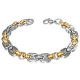 Pulsera acero cadena 30 - acero y gold-ip dos ovales