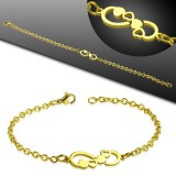 Pulsera acero cadena 25 - Gold-ip infinito con corazóns