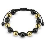 Pulsera shamballa 24 - perlas negros y amarillos