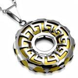 colgante tribale 14 - círculo amarillo líneas griego