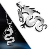 Colgante animal 19 - Dragon negro y acero