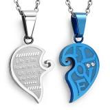 Colgante de la pareja 13 - corazón gris y coeur azul
