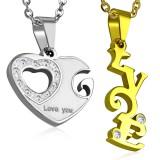 Colgante de la pareja 15 - corazón y LOVE amarillo