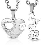 Colgante de la pareja 16 - corazón y LOVE gris