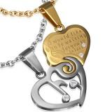 Colgante de la pareja 18 - corazón y coeur amarillo