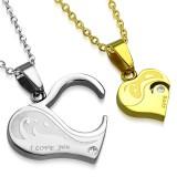 Colgante de la pareja 21 - corazón gris y coeur amarillo
