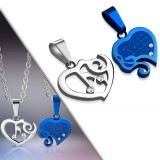 Colgante de la pareja 22 - corazón gris y coeur azul