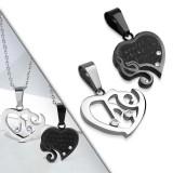 Colgante de la pareja 29 - corazón gris y coeur negro