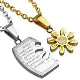 Colgante de la pareja 31 - placa y Flor amarillo