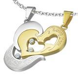 Colgante de la pareja 34 - corazón gris y coeur amarillo