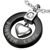 Colgante corazón forever love negro (24)