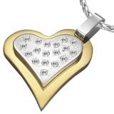 Colgante corazón gris strass sobre corazón amarillo (25)