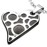 Colgante corazón negro motivos gris (26)