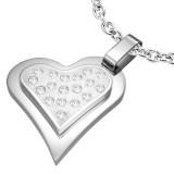Colgante corazón gris strass sobre corazón (27)