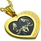 Colgante corazón negro y amarillo Flors (31)