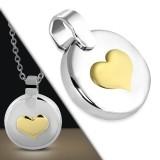 Colgante corazón amarillo sobre círculo (42)