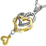 Colgante corazóns amarillos y gris cadenatte (58)