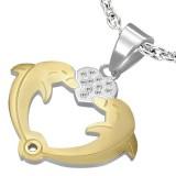 Colgante corazón con dos Delfíns amarillos (59)
