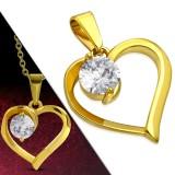 colgante gold-ip corazón con zircona ronda (70)