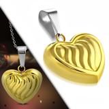 Colgante corazón gold-ip con rayures (79)
